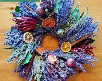 The Chef, lavender wreath, herb wreath, culinary wreath, fragrant wreath, dried wreath