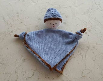 Flat plush baby blue and Brown for boy