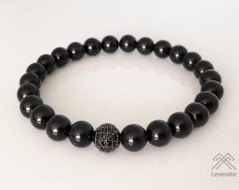 Mens bracelet - Black Onyx bracelet - Black Onyx beads - Beaded bracelet - Black Onyx beads