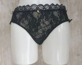 Black lace brief with frilled edge, size small, underwear, lingerie, gift for her, wedding, valentines, Christmas present