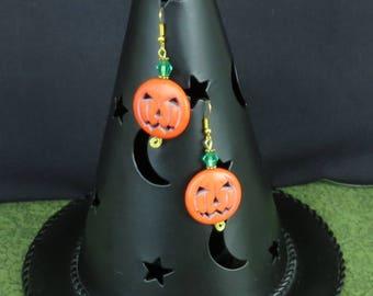 Halloween Jack-o'-Lantern Pumpkin Earrings ETS 014