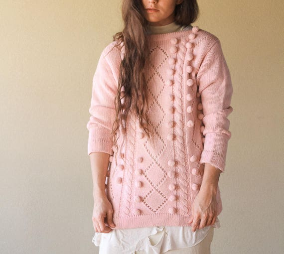 Popcorn Ball Pastel Pink Sweater 90s Pom Pom Pink Sweater