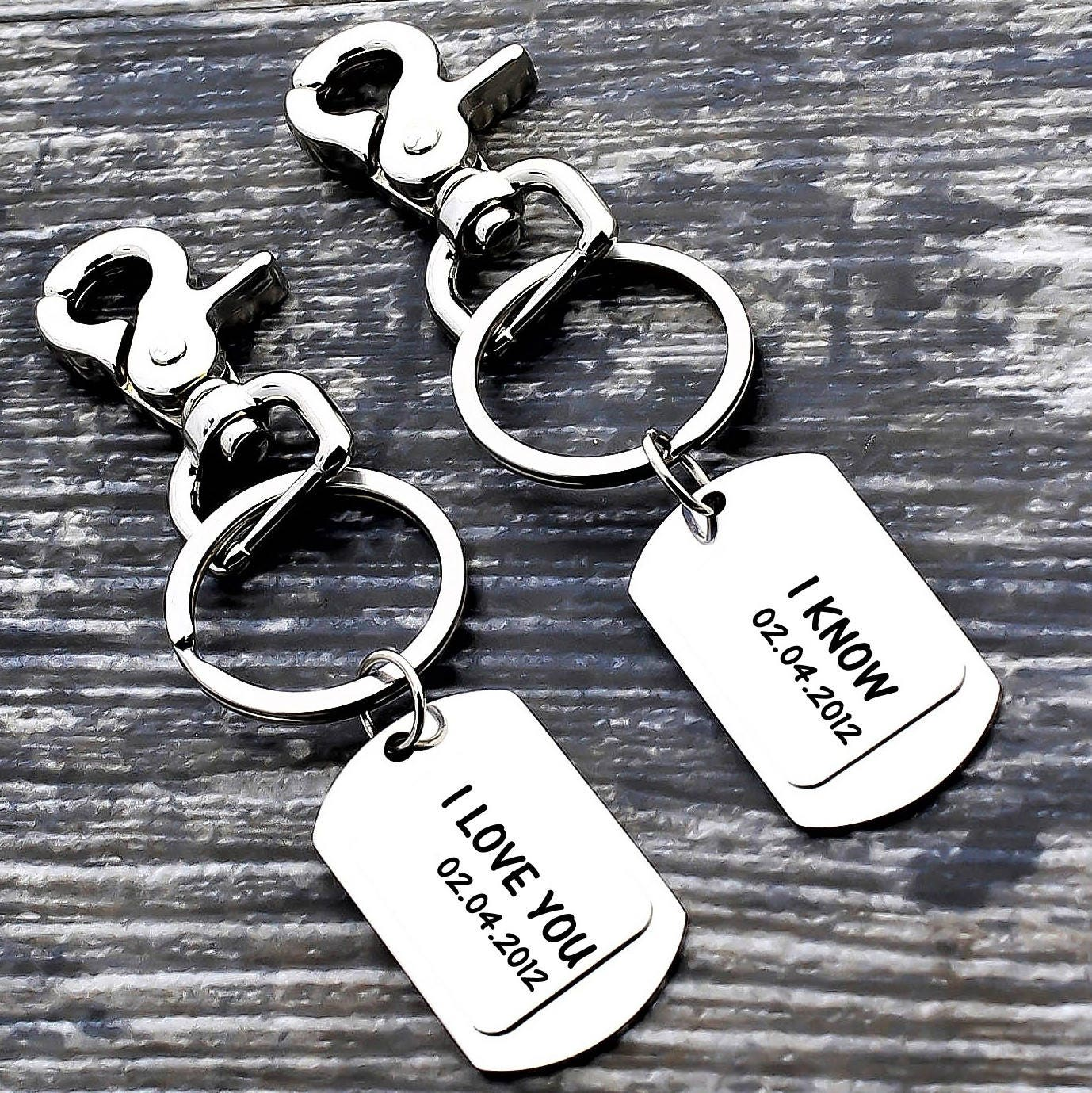 personalized couples keychains custom keychain set couples gift