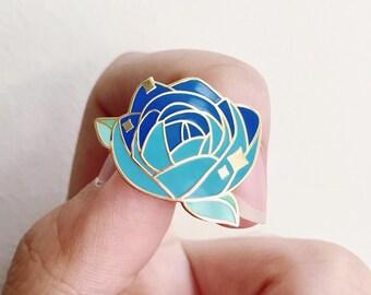 Royal Blue Rose enamel pin