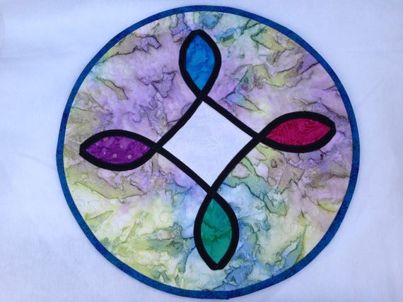 Sacred Circle Stained Glass meditation quilt