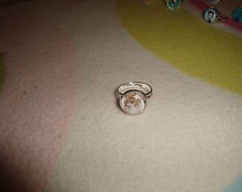 Adjustable ring cabochon silver tabby kitten