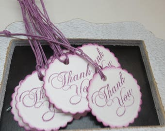 Thank you tags, 12 thank you tags, cardstock tags, tags, ready to ship tags, white and purple tags, hand punched and stamped tags