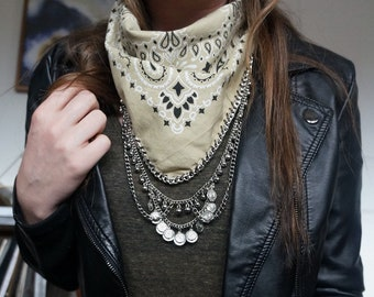 Bandana with silver pendant | Coachella Style | Festival Fashion | Scarf Necklace | Best Seller | Boho