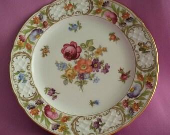 "Bavaria Germany Schumann Arzberg Empress Dresden Flowers Gold Trim Salad Plate 7.3/4"""