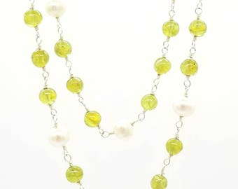 "17""-19"" Peridot and Pearl Necklace"