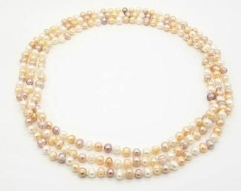 """80"""" Multi-color Pearl Necklace"""