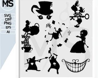 70 % OFF, Alice in wonderland svg, Alice in wonderland Silhouettes, Vector art, instant download, Digital Cut, Print Files, Svg Files dxf