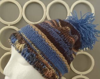 Awesome Winter Warm Colours Boho Beanie With Pompom and Feathered Cuff