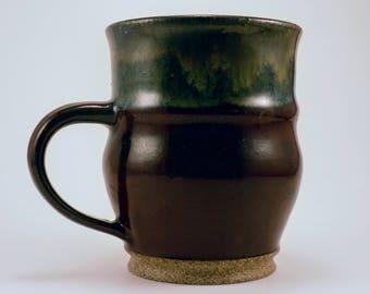 Rustic, Wheel Thrown 10oz Deep Red and Green Mug