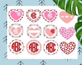 Arrow heart svg Monogram frame svg valentine svg heart svg love svg valentines svg files for cricut silhouette Arrow monogram svg heart mono