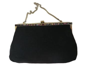 Vintage Black Satin Purse, 1950s Evening Bag, Embroidered Edge Clutch, Goldtone Chain Drop-in Handle