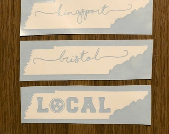 """Tennessee """"LOCAL"""" Tri-Star or City Name Vinyl Decal"""