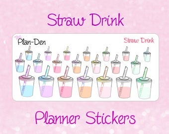 Cup Stickers - straw cup stickers, deco stickers, tea stickers, planner stickers, TN stickers, drink stickers, smoothie stickers, stickers