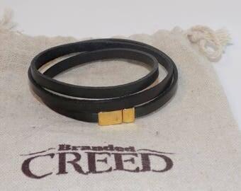 Triple wrap skinny leather bracelet, multi-wrap leather bracelet, leather layering bracelet, women's leather bracelet, mens leather bracelet
