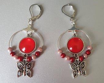 Earrings butterflies, cabochon Red