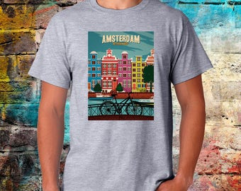Amsterdam T-shirt, Amsterdam gift, hollond shirt, weed tee, graphic tee, mens womens size, worldwide shipping