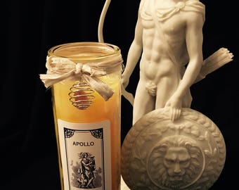 Apollo Devotional Candle - Dressed in herbs, oils & gemstone adorned!