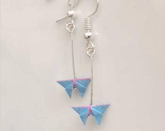 Miniature Origami Butterfly Earrings-Origami Jewellery-Paper Jewellery-Origami Earrings-Dangle& Drop earrings-Anniversary-Valentine's Day