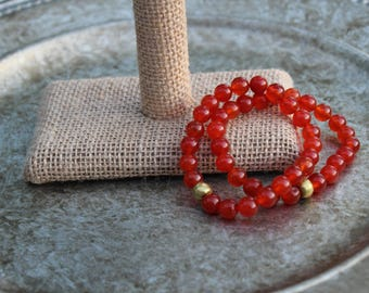 Translucent Burnt Orange Beaded Elastic Bracelet