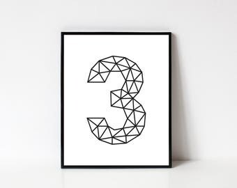 Number 3 Wall Art, Number Poster, Number Printable, Geometric Art, Geometric Print, Line Art, Home Decor, Wall Decor, INSTANT DOWNLOAD