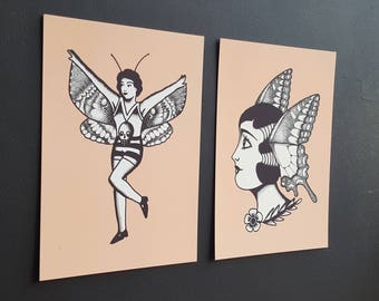 Set of 2 - Butterfly Babes Tattoo Flash - A6 Postcards