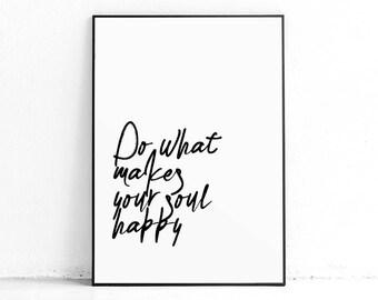 Printable Happiness Quote Art, Minimalist Nordic Art Poster, Positive Vibes DIY Printable Art, Minimalist Quote Art, Motivational Poster
