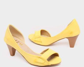 Yellow Vegan Shoes High Heels Handmade Wedding Women