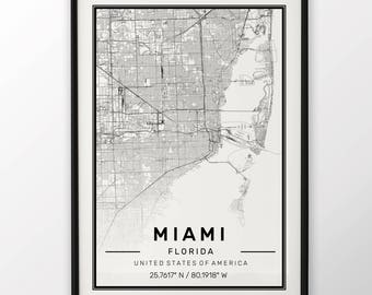 Miami City Map Print Modern Contemporary poster in sizes 50x70 fit for Ikea frame 19.5 x 27.5 All city available London, New York Paris