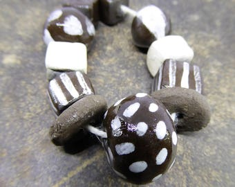 Dark Brown and White - Artisan made ceramic beads - set of 11 - Hand painted