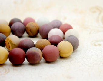 Matte Mookaite Round Ball Sphere Natural Gemstone Beads (6mm 8mm 10mm 12mm)