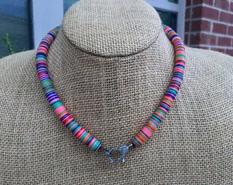 African Vinyl Bead Necklace with Pavé Diamond Lobster Claw