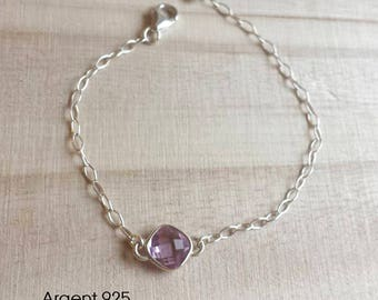 Bracelet in 925 Silver with pastel pink stone