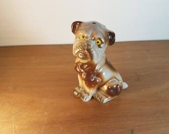 Vintage kitsch retro pug dog salt and pepper shaker