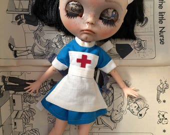 Blythe Vintage Nurse Dress & Hat Set, Truly Vintage Custom 'Nurse Nancy' Dress Up For Blythe/Pullip Dolls