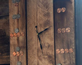 Coin Clock Handmade out of Recycled Pallets