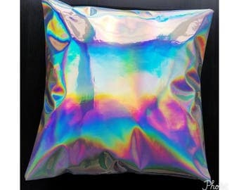 Faux leather holographic envelope pillow cover