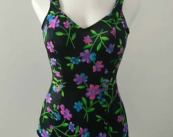 Vintage Floral One Piece Bathing Suit