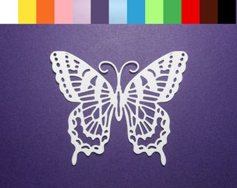"""Intricate Butterfly Die Cuts 3"""" x 2 1/2"""" Color choice - 4 pc Cardstock Paper Butterfly Embellishments, Scrapbooking, Card Making"""
