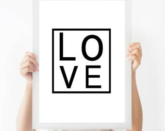 Love Print - Love Quote Print - Black and White - Monochrome Print - Geometric Decor - Home Decor - Bedroom Decor - Love Wall Art
