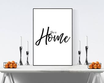 Home print - home decor - black and white wall art - minimalist - wall art - home wall art - typography print - typography quote - new home