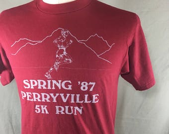 Vintage 87 Single Stitch Perryville 5K run T-Shirt // Hanes Fifty-Fifty // Men's M/L Made in USA
