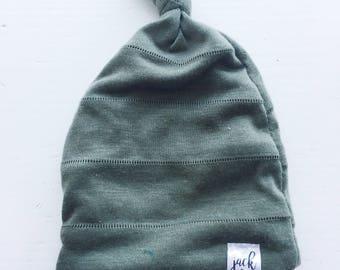 The Hayden Newborn Top Knot Hat - Olive Green