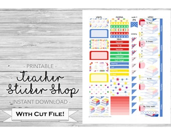 School Friends Teacher Planner Weekly Kit Sticker PRINTABLE with Cut Files - for Happy Planner, Erin Condren, Lesson Planner, etc.