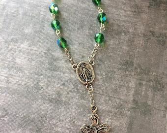 Green Rosary Decade, Green Rosary, Catholic Rosary, Free Shipping