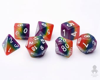 Rainbow Dice Set, D&D, Dice Set, Dungeons and Dragons, Rainbow RPG Dice, Geek, Geeky, DND, geekery - Lucky Charms (KD0024)